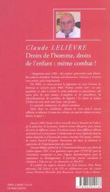 Droits De L'Homme, Droits De L'Enfant : Meme Combat ! - 4ème de couverture - Format classique
