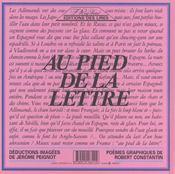 Au Pied De La Lettre - 4ème de couverture - Format classique