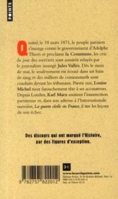 Grands discours : la Commune - 4ème de couverture - Format classique