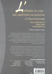 L'ethique du juge : une approche europeenne et internationale (1re édition) - 4ème de couverture - Format classique