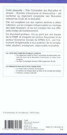 Plan Comptable Des Mutuelles Et Unions ; Activites D'Assurance Et De Reassurance - 4ème de couverture - Format classique