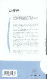 Qui sont les députés français ? enquête sur des élites inconnues - 4ème de couverture - Format classique