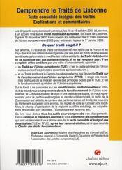 Comprendre le traité de Lisbonne - 4ème de couverture - Format classique