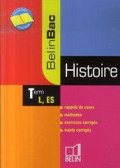 Histoire ; terminale l, es - Intérieur - Format classique