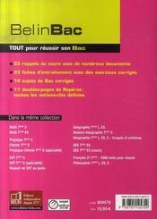 Histoire ; terminale l, es - 4ème de couverture - Format classique