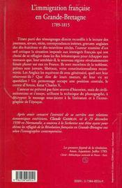 L'Immigration Francaise En Grande-Bretagne, 1789-1815 - 4ème de couverture - Format classique