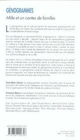 Génogrammes ; mille et un contes de familles - 4ème de couverture - Format classique
