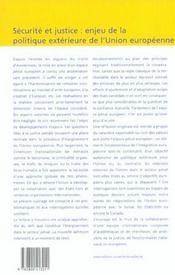 Securite Et Justice : Enjeu De La Politique Exterieure De L'Union Europeenne - 4ème de couverture - Format classique