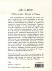 Parole écrite, parole scénique ; du texte à la scène - 4ème de couverture - Format classique