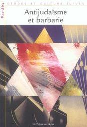 Antijudaisme et barbarie - pardes n 38/2005 (édition 2005) - Intérieur - Format classique