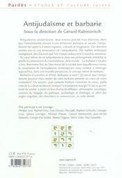 Antijudaisme et barbarie - pardes n 38/2005 (édition 2005) - 4ème de couverture - Format classique