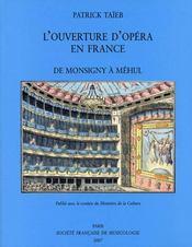 L'ouverture d'opéra en france, de Monsigny à Méhul - Intérieur - Format classique