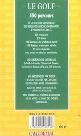 Guide Gault Millau Golf - 4ème de couverture - Format classique