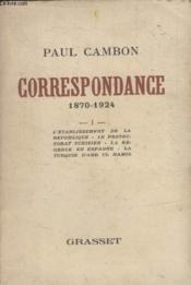 Correspondance 1870 1924. Tome 1. - Couverture - Format classique