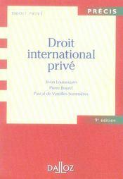 Droit international privé (9e édition) - Intérieur - Format classique
