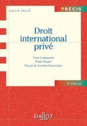 Droit international privé (9e édition) - Couverture - Format classique
