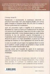 Genie Industriel Maintenance Industrielle De L'Entretien De Base A L'Optimisation De La Surete - 4ème de couverture - Format classique