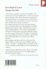 Voyage aux isles - 4ème de couverture - Format classique
