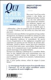 Qui a peur de soigner le jeune Robin ? - 4ème de couverture - Format classique