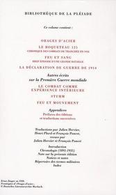 Journaux de guerre t.1 ; 1914-1918 - 4ème de couverture - Format classique