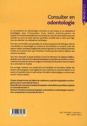 Consulter en odontologie - 4ème de couverture - Format classique