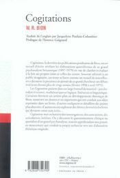 Cogitations - 4ème de couverture - Format classique