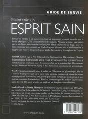 Maintenir Un Esprit Sain - 4ème de couverture - Format classique