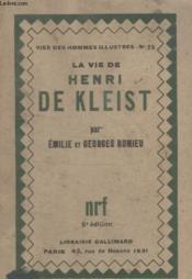 Collection Vies Des Hommes Illustres N° 72. La Vie Dhenri De Kleist. - Couverture - Format classique