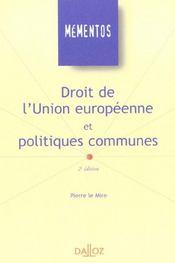 Droit De L'Union Européenne Et Politiques Communes - Intérieur - Format classique