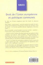 Droit De L'Union Européenne Et Politiques Communes - 4ème de couverture - Format classique