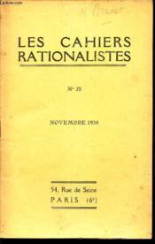 LES CAHIERS RATIONALISTES - N°35 - novembre 1934 / Morale Bergonnienne et Rationnaisme / etc... - Couverture - Format classique