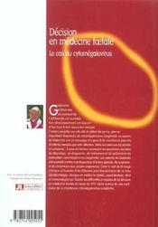 Decision En Medecine Foetale-Le Cas Du Cytomegalovirus - 4ème de couverture - Format classique