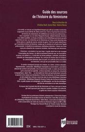 Guide des sources de l'histoire du féminisme - 4ème de couverture - Format classique