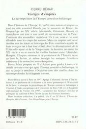 Vestiges D'Empires - 4ème de couverture - Format classique