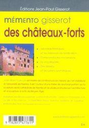 Memento Gisserot Des Chateaux-Forts - 4ème de couverture - Format classique