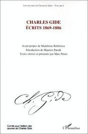 Charles Gide ; écrits t.1 ; 1869-1886 - Couverture - Format classique