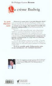 Creme budwig (la) nouvelle edition - 4ème de couverture - Format classique