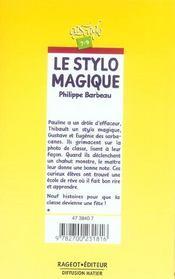 Le stylo magique - 4ème de couverture - Format classique