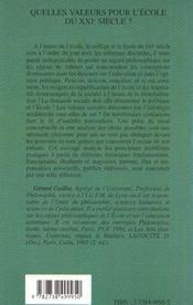 Quelles valeurs pour l'ecole du xxie siecle - 4ème de couverture - Format classique