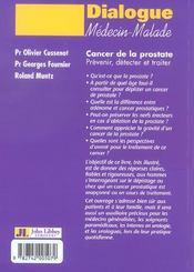 Cancer de la prostate prevenir, detecter et traiter - 4ème de couverture - Format classique
