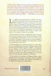 Hitler et la musique ; un mélomane mégalomane - 4ème de couverture - Format classique