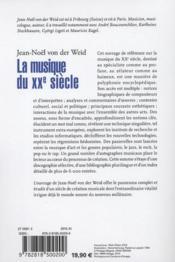 La musique du XX siècle - 4ème de couverture - Format classique