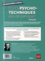 Tests psychotechniques ; pas de panique ! - 4ème de couverture - Format classique