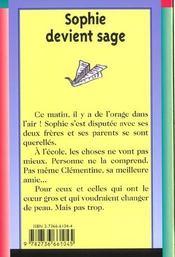 Sophie Devient Sage - 4ème de couverture - Format classique