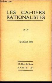 LES CAHIERS RATIONALISTES - N°38 - fevrier 1935 / le mysticisme dans le langage de la Revolution / etc... - Couverture - Format classique