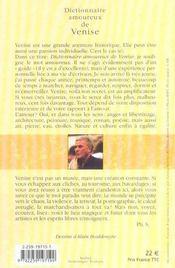 Dictionnaire amoureux de Venise - 4ème de couverture - Format classique