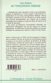 Les Enjeux De L'Interpretation Theatrale - 4ème de couverture - Format classique