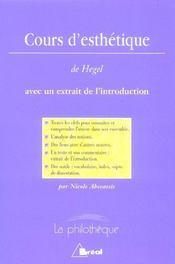 Cours d'esthétique, de Hegel - Intérieur - Format classique