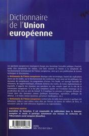Dictionnaire de l'union européenne (3e édition) - 4ème de couverture - Format classique