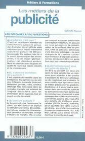 Les métiers de la publicité (édition 2004-2005) - 4ème de couverture - Format classique
